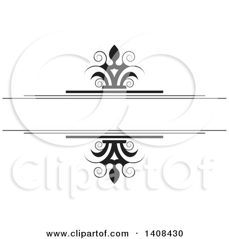 Clipart of a Black and White Wedding Swirl Design Element - Royalty Free Vector Illustration by Lal Perera