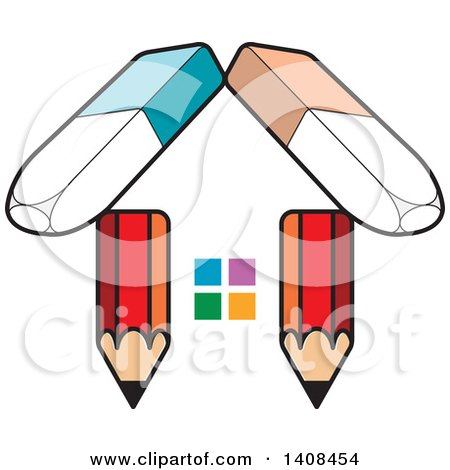 Clipart of a House Made of Pencils and Erasers - Royalty Free Vector Illustration by Lal Perera
