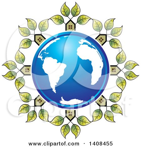 Clipart of a Blue Earth Globe Encircled in Houses with Leaves - Royalty Free Vector Illustration by Lal Perera