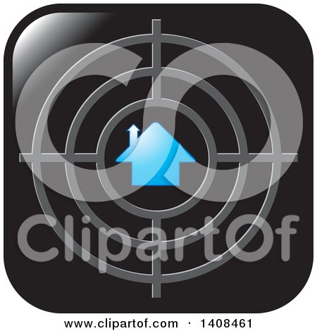 Clipart of a House Icon with a Target - Royalty Free Vector Illustration by Lal Perera
