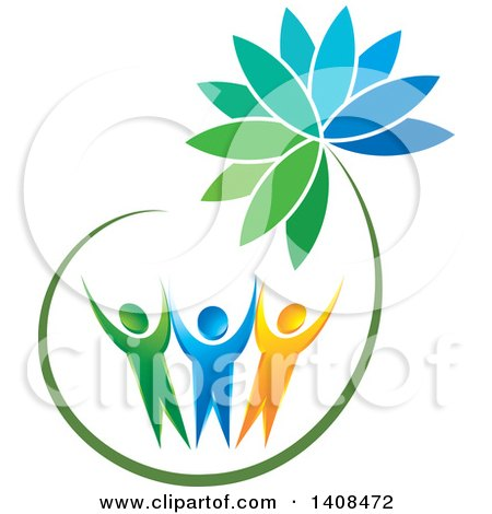 Clipart of Cheering People Holding up a Flower - Royalty Free Vector Illustration by Lal Perera