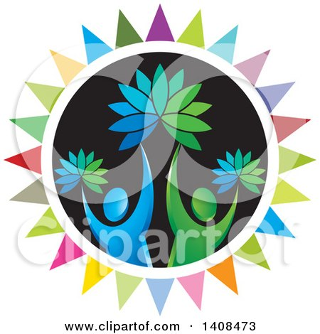 Clipart of a Circle with Cheering People and Flowers - Royalty Free Vector Illustration by Lal Perera