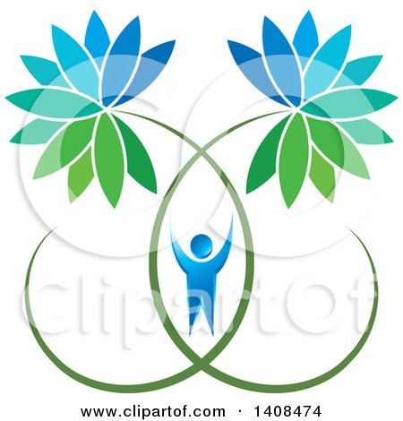 Clipart of a Cheering Blue Man with Giant Flowers - Royalty Free Vector Illustration by Lal Perera