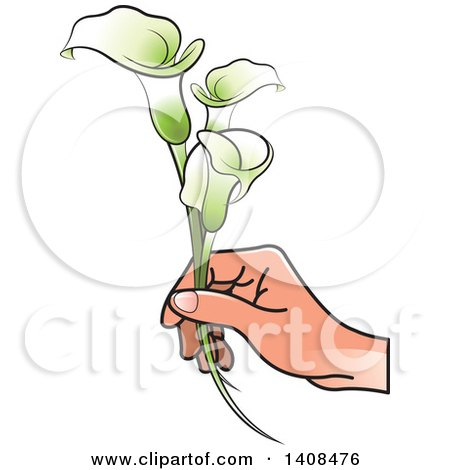 Clipart of a Hand Holding Calla Lilies - Royalty Free Vector Illustration by Lal Perera