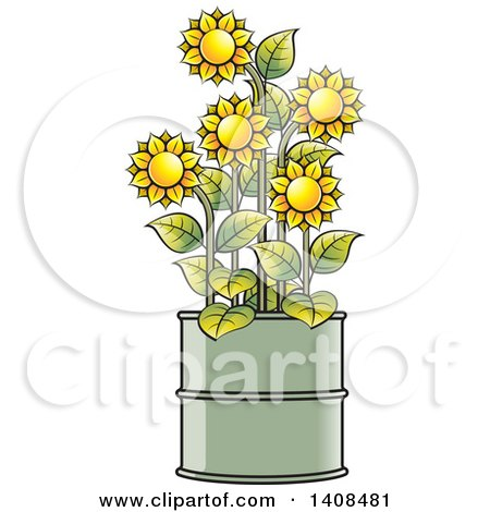 Clipart of Sunflowers in a Barrel - Royalty Free Vector Illustration by Lal Perera