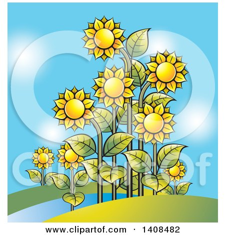 Clipart of a Sunflower Garden and Blue Sky - Royalty Free Vector Illustration by Lal Perera