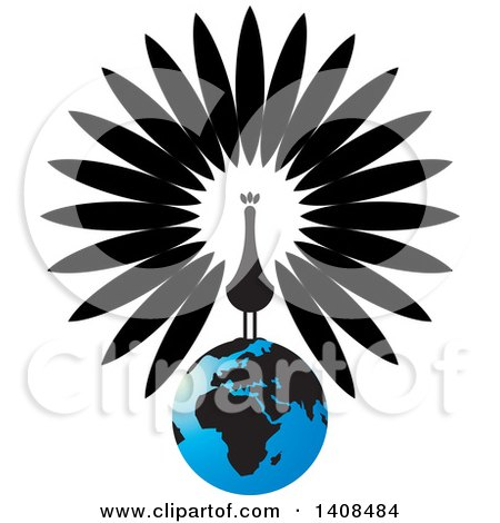 Clipart of a Black and White Peacock on a Blue Earth - Royalty Free Vector Illustration by Lal Perera