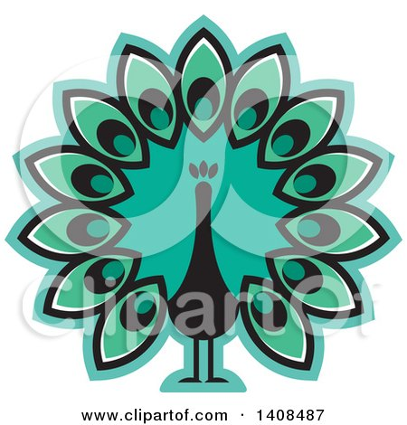 Clipart of a Turquoise Peacock - Royalty Free Vector Illustration by Lal Perera