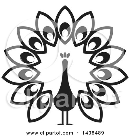Clipart of a Black and White Peacock - Royalty Free Vector Illustration by Lal Perera