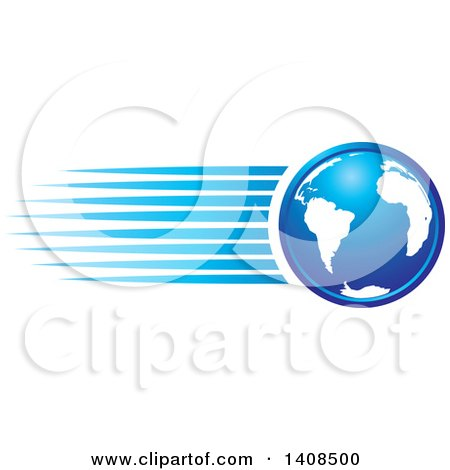 Clipart of a Blue Earth Globe with Speed Streaks - Royalty Free Vector Illustration by Lal Perera