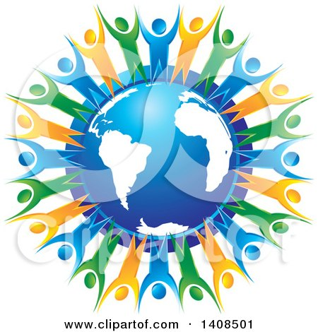 Clipart of a Blue Orange and Green People Holding Hands and Cheering Around a Blue Globe - Royalty Free Vector Illustration by Lal Perera