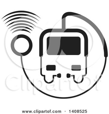 Clipart of a Black and White Medical Transport Vehicle or Bus Made of a Stethoscope with Signals - Royalty Free Vector Illustration by Lal Perera