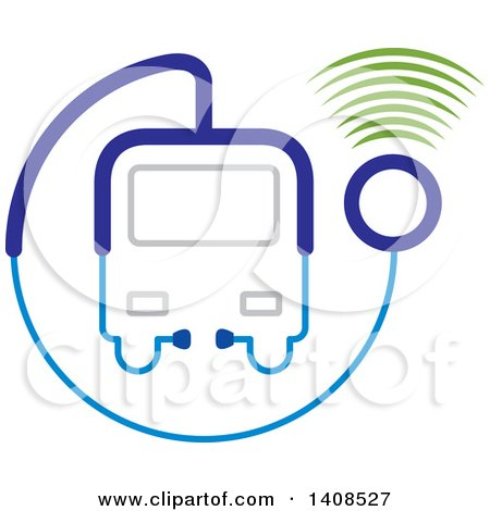 Clipart of a Medical Transport Vehicle or Bus Made of a Stethoscope with Signals - Royalty Free Vector Illustration by Lal Perera