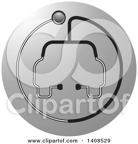 Clipart of a Stethoscope Forming the Shape of a Car or Ambulance over a Gray Circle - Royalty Free Vector Illustration by Lal Perera