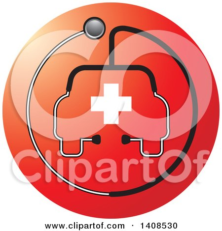 Clipart of a Stethoscope Forming the Shape of a Car or Ambulance with a Cross over a Red Circle - Royalty Free Vector Illustration by Lal Perera