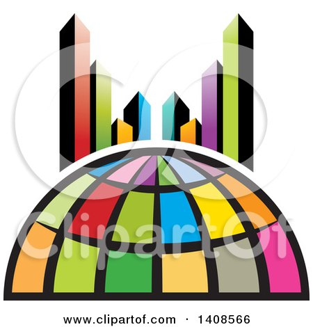 Clipart of a Colorful Globe and City Skyscrapers - Royalty Free Vector Illustration by Lal Perera