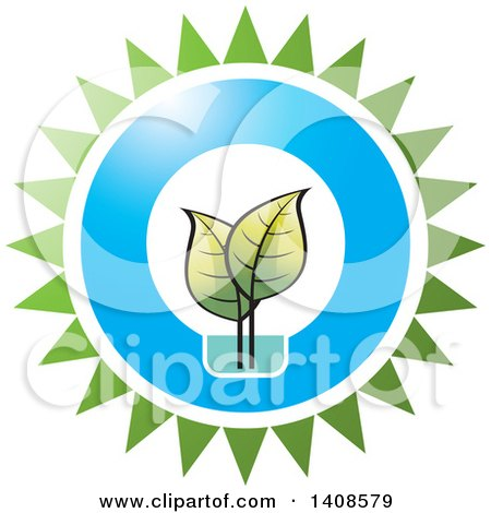 Clipart of a LED Light Design with Leaves and Sun - Royalty Free Vector Illustration by Lal Perera