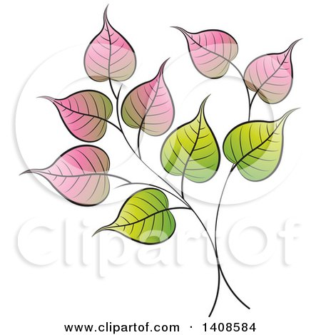 Clipart of a Bo Leaf Design - Royalty Free Vector Illustration by Lal Perera