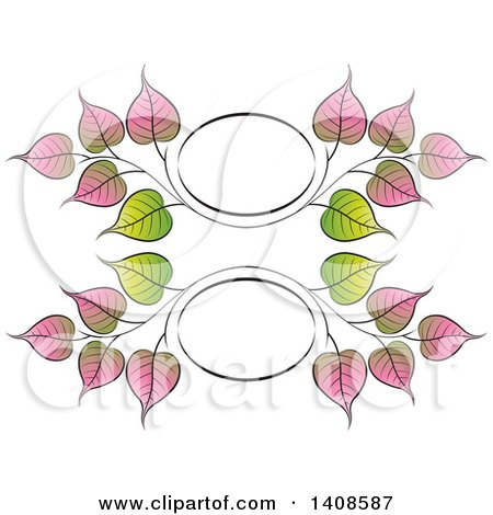 Clipart of a Bo Leaf Frame Design - Royalty Free Vector Illustration by Lal Perera