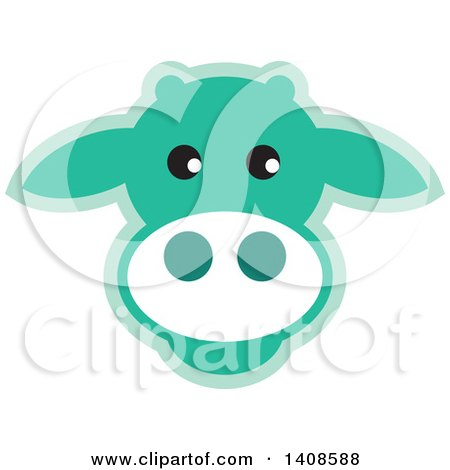 Clipart of a Happy Light Green Cow Face - Royalty Free Vector Illustration by Lal Perera