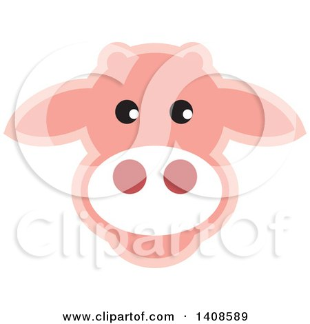 Clipart of a Happy Light Pink Cow Face - Royalty Free Vector Illustration by Lal Perera