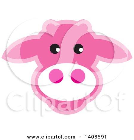 Clipart of a Happy Pink Cow Face - Royalty Free Vector Illustration by Lal Perera
