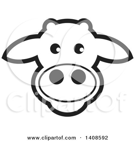 Clipart of a Happy Black and White Lineart Cow Face - Royalty Free Vector Illustration by Lal Perera