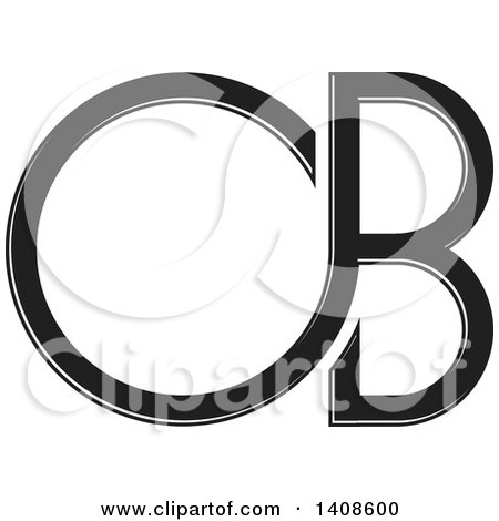 Clipart of a Black and White C or D and B Design - Royalty Free Vector Illustration by Lal Perera