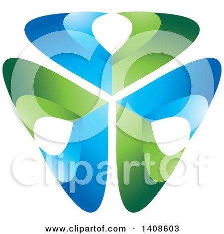 Clipart of a Shield of Abstract Blue and Green V Shaped Letters - Royalty Free Vector Illustration by Lal Perera