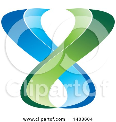 Clipart of a Green and Blue Abstract Design - Royalty Free Vector Illustration by Lal Perera
