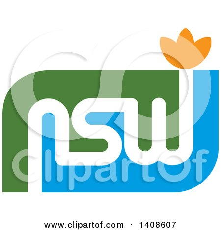 Clipart of a NSW Abstract Letter Design with a Lotus Flower - Royalty Free Vector Illustration by Lal Perera