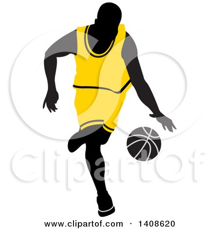 Clipart of a Black Silhouetted Male Basketball Player in a Yellow Uniform, Dribbling the Ball - Royalty Free Vector Illustration by Lal Perera