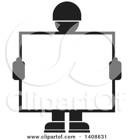 Clipart of a Black and White Silhouetted Worker Man Holding a Blank Sign or Screen - Royalty Free Vector Illustration by Lal Perera