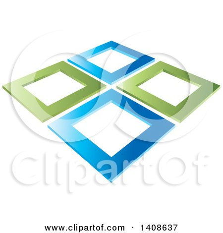 Clipart of Abstract Green and Blue Frames - Royalty Free Vector Illustration by Lal Perera