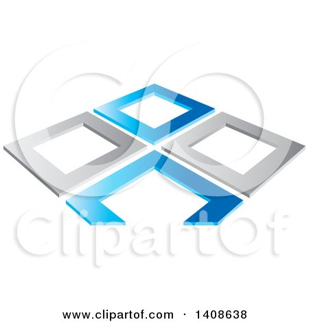 Clipart of Abstract Silver and Blue Frames - Royalty Free Vector Illustration by Lal Perera