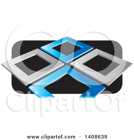 Clipart of Abstract Silver and Blue Frames over Black - Royalty Free Vector Illustration by Lal Perera