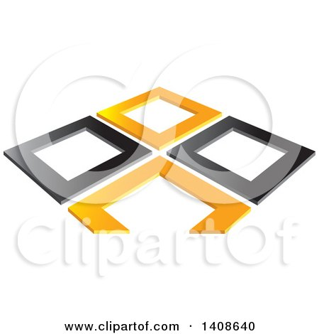 Clipart of Abstract Orange and Black Frames - Royalty Free Vector Illustration by Lal Perera