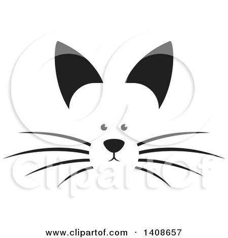 Clipart of a Black and White Dog Face - Royalty Free Vector Illustration by Lal Perera