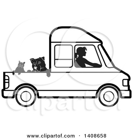 Clipart of a Black and White Silhouetted Woman Driving Dogs and a Cat in a Van - Royalty Free Vector Illustration by Lal Perera