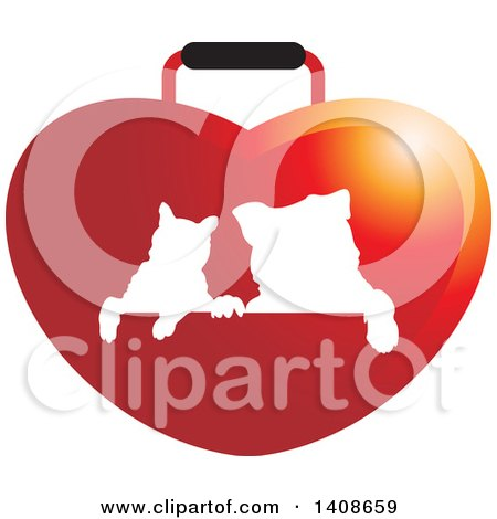 Clipart of a Silhouetted Cat and Dog on a Red Heart Bag - Royalty Free Vector Illustration by Lal Perera