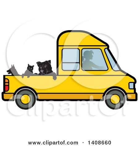 Clipart of a Silhouetted Woman Driving Dogs and a Cat in a Van - Royalty Free Vector Illustration by Lal Perera