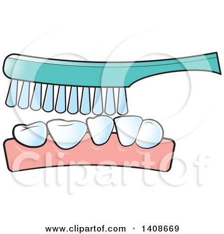 Clipart of a Brush Cleaning Teeth - Royalty Free Vector Illustration by Lal Perera