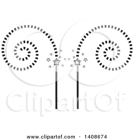 Clipart of a Cinema Design with Spirals and Stars - Royalty Free Vector Illustration by Lal Perera