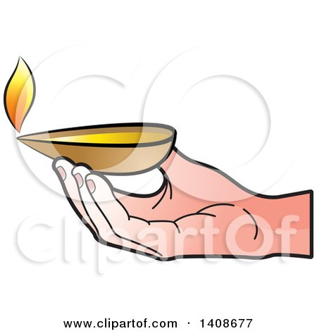 Clipart of a Hand Holding an Oil Lamp - Royalty Free Vector Illustration by Lal Perera