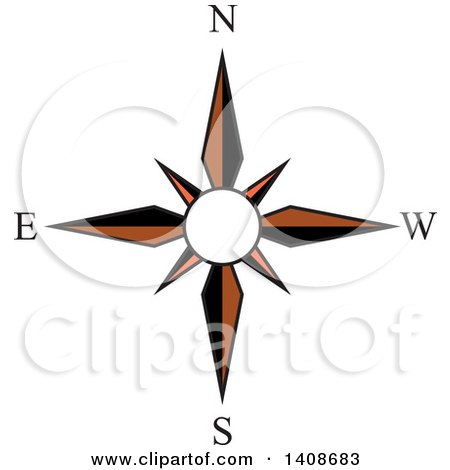 Clipart of a Compass Rose Direction Icon - Royalty Free Vector Illustration by Lal Perera