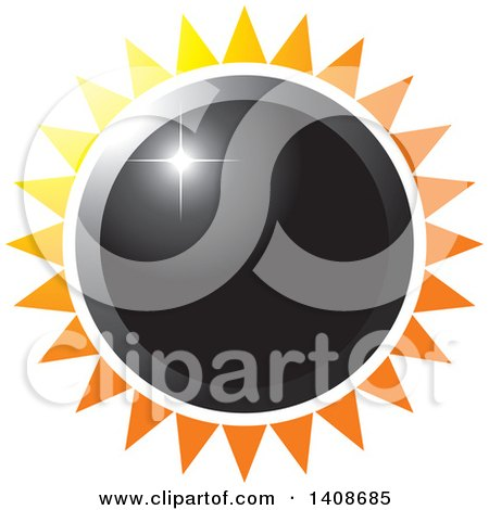 Clipart of a Black Sun or Flower with Rays - Royalty Free Vector Illustration by Lal Perera