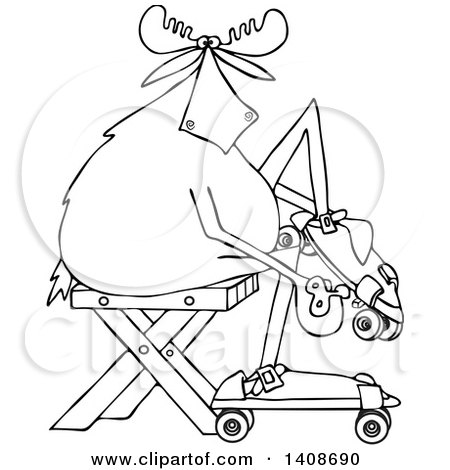 Clipart of a Cartoon Black and White Lineart Moose Sitting and Putting on Roller Skates - Royalty Free Vector Illustration by djart