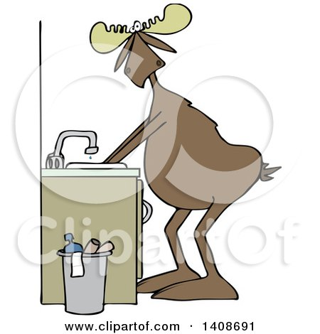 Clipart of a Cartoon Moose Washing His Hands - Royalty Free Vector Illustration by djart