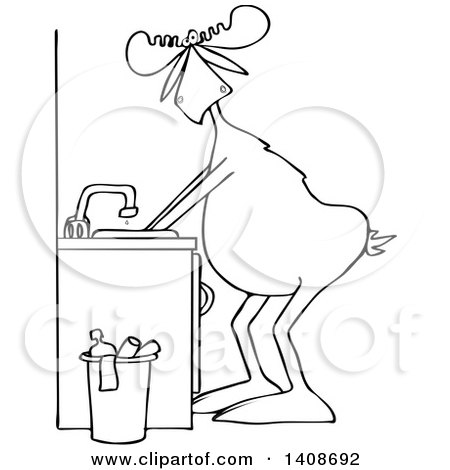 Clipart of a Cartoon Black and White Lineart Moose Washing His Hands - Royalty Free Vector Illustration by djart