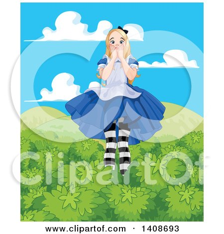 Clipart of a Worried Giant Alice in Wonderland Towering over Tree Tops - Royalty Free Vector Illustration by Pushkin